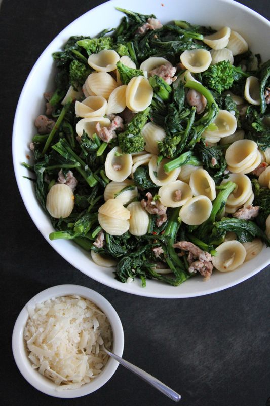 Orecchiette with Spicy Sausage and Broccoli Rabe | Lattes & Leggings