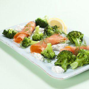 Røget laks med broccoli og skyrcreme