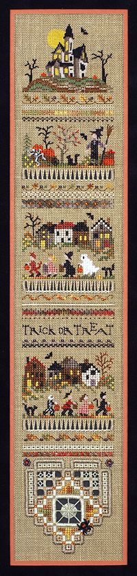 The Victoria Sampler - new halloween design using Kreinik threads.