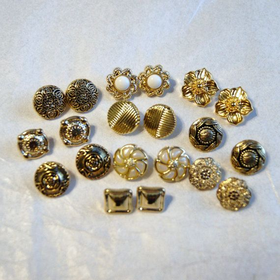 10  Matched Pairs Gold Button Shank Back  by MellowMoonSupply, $2.75