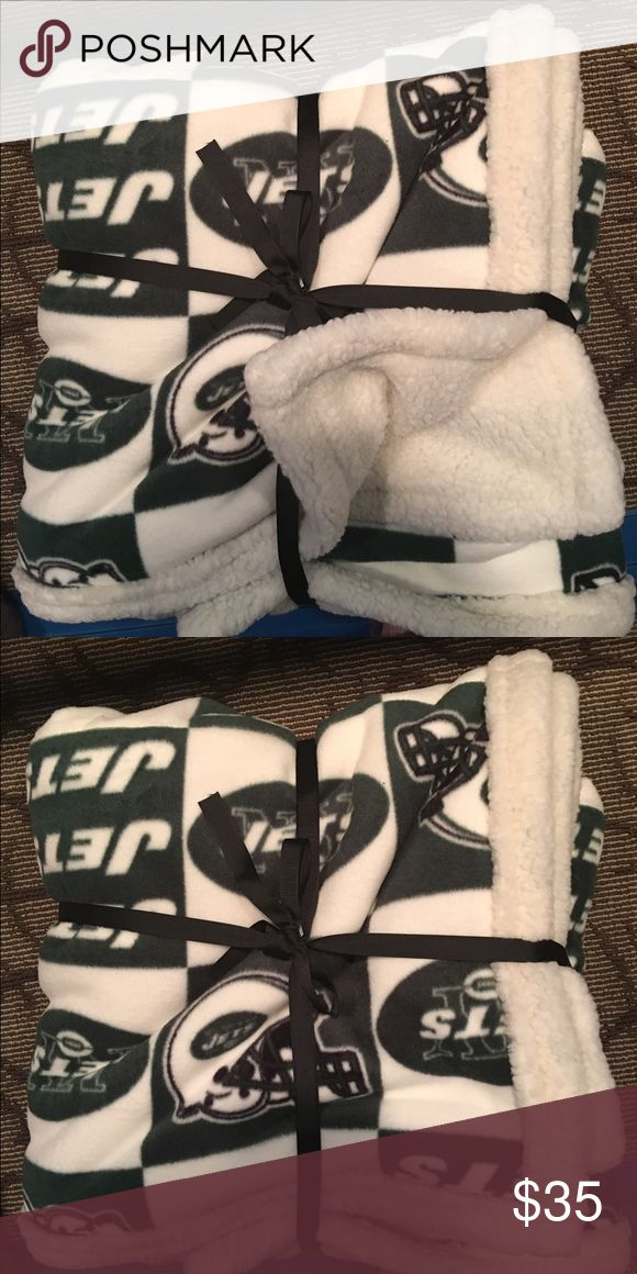 "New York Jets Blanket NFL New York jets fleece blanket new with Sherpa backing $35 est size 58"" x68"" Other"