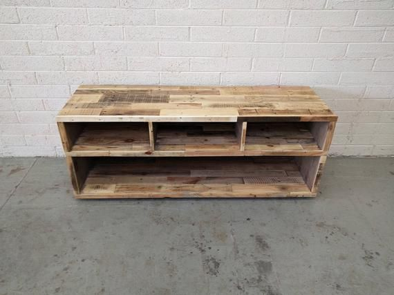 Reclaimed Wood Media Unit In Natural Tv Stand Entertainment Center Console Rustic Beach House Cabin Shabby Chic Handmade Living Room Reclaimed Wood Media Console Pallet Furniture Diy Pallet Furniture