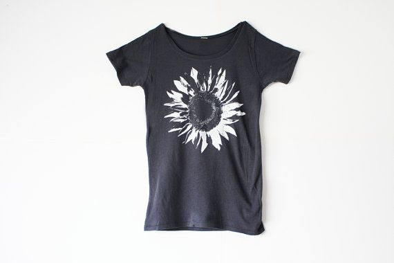 Womens Flower Shirt -  Alternative Apparel -  White Flower - Women -  Organic Cotton - Nature Shirt In Small, Medium, Large and Extra Large on Etsy, $25.00