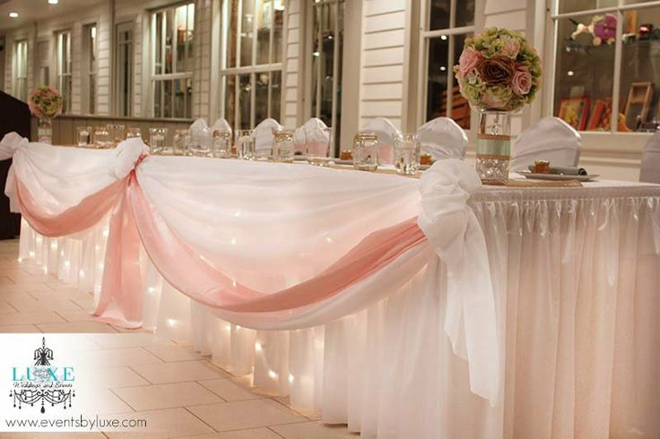 Soft pink and white wedding head table, pink wedding head table decor, wedding head table with lights, pastel wedding decor