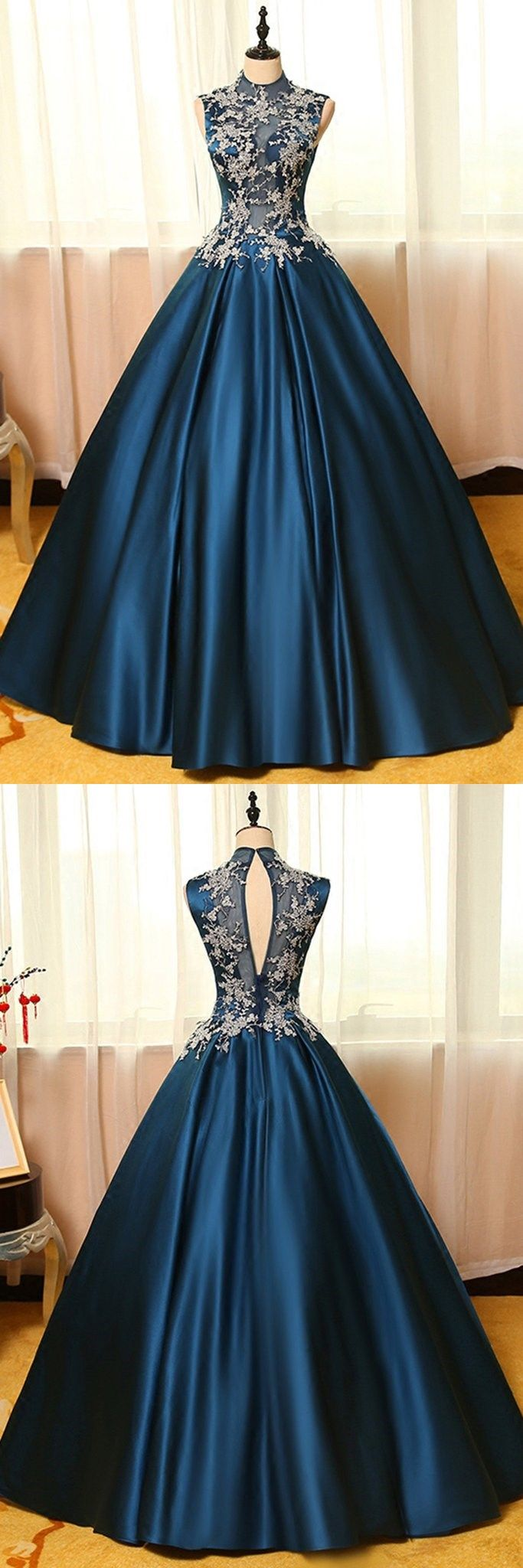 Blue satins lace applique round neck see-through A-line long prom dresses,ball gown dresses #prom #dresses #longpromdress #promdress #eveningdress #promdresses #partydresses #2018promdresses #ballgown #eveninggown #promgown #bluepromdresses