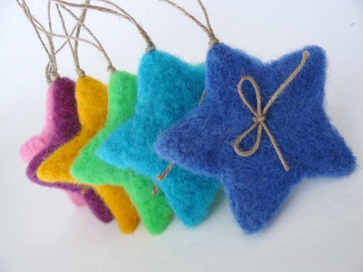 Six Color Fluffy Christmas Stars -Needle Felted - Christmas Decoration. , via Etsy.