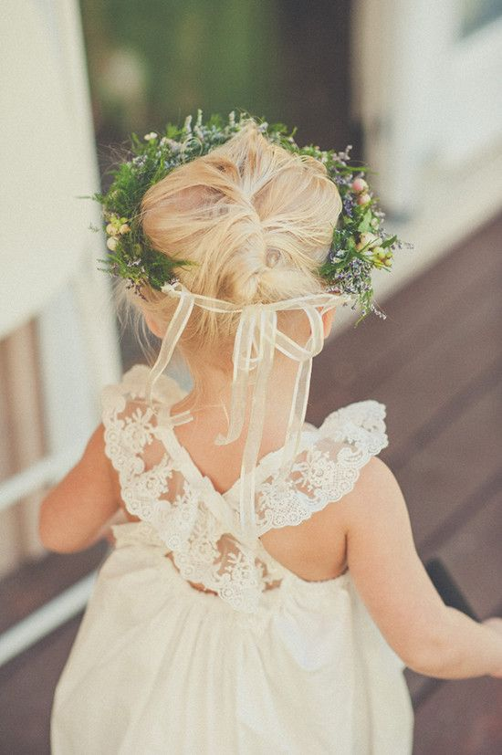 flower girl outfit idea with flower halo and lace trimmed white dress