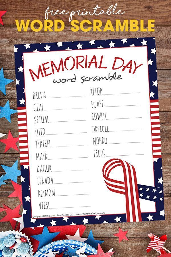 Free Printable Memorial Day Word Scramble for Kids ...