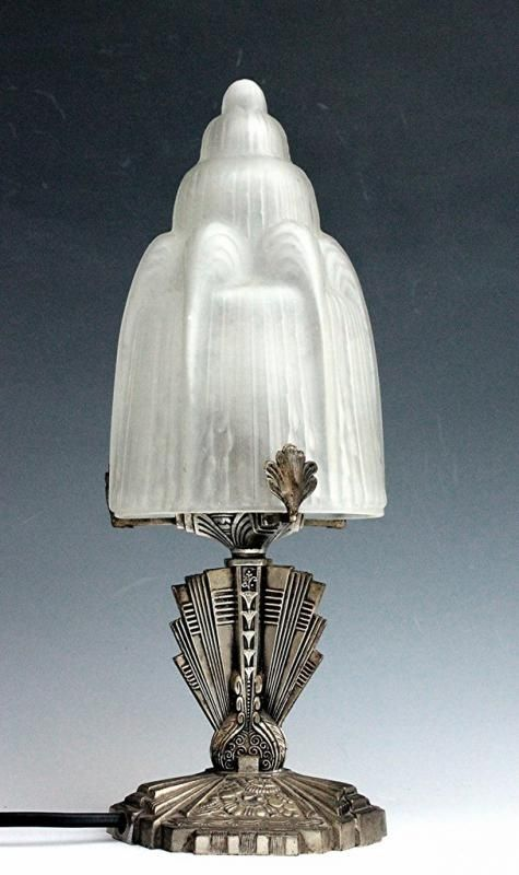 ART DECO 1920 BELLE LAMPE CHAMPIGNON style SABINO BRONZE ARGENTÉ A LA MADONNE