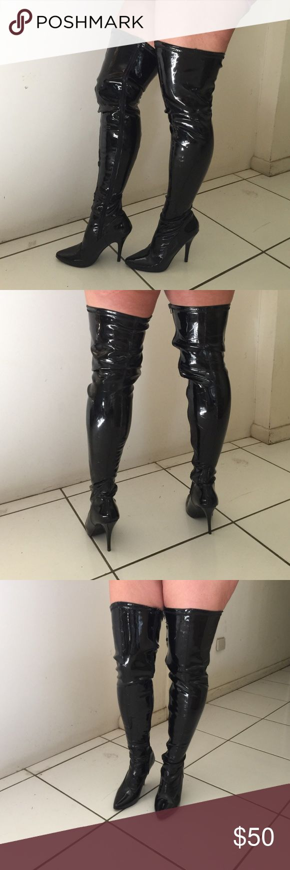 Thigh high black patent leather  boots Thigh high black patent leather  boots Pleaser Shoes Over the Knee Boots
