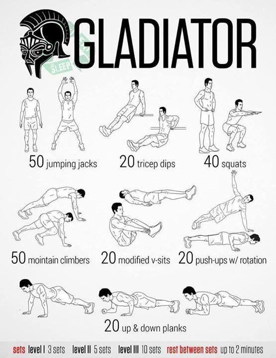 Gladiator Workout Jumping Jacks Squats Mountain Climbers Tricep Ups Plank