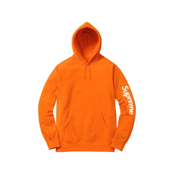 Supreme Sleeve Patch Hooded Sweatshirt ($148) ❤ liked on Polyvore featuring tops, hoodies, sweatshirt hoodies, orange top, orange hoodie, sleeve top and hoodie top