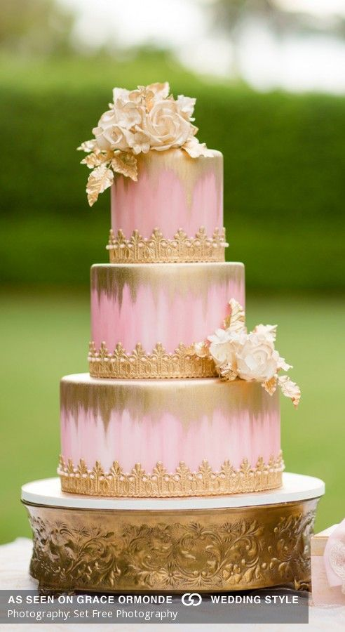 Hand Painted Pink And Gold Wash Over With Pearls And Roses