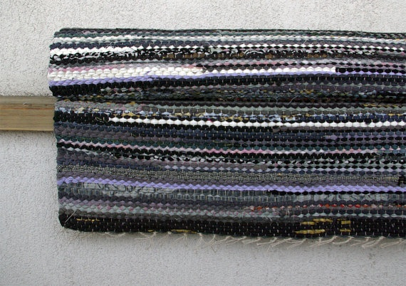 Hand woven Rag Rug  gray black white 367'x 748' by dodres on Etsy, $115.00