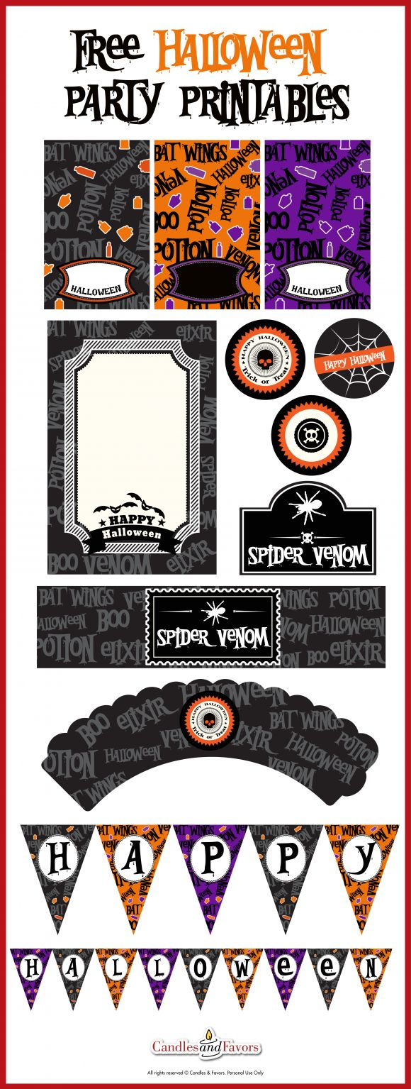 Free Venom and Potions Halloween Party Printables. There's everything you need to throw a great Halloween party! See more Halloween party ideas at CatchMyParty.com.