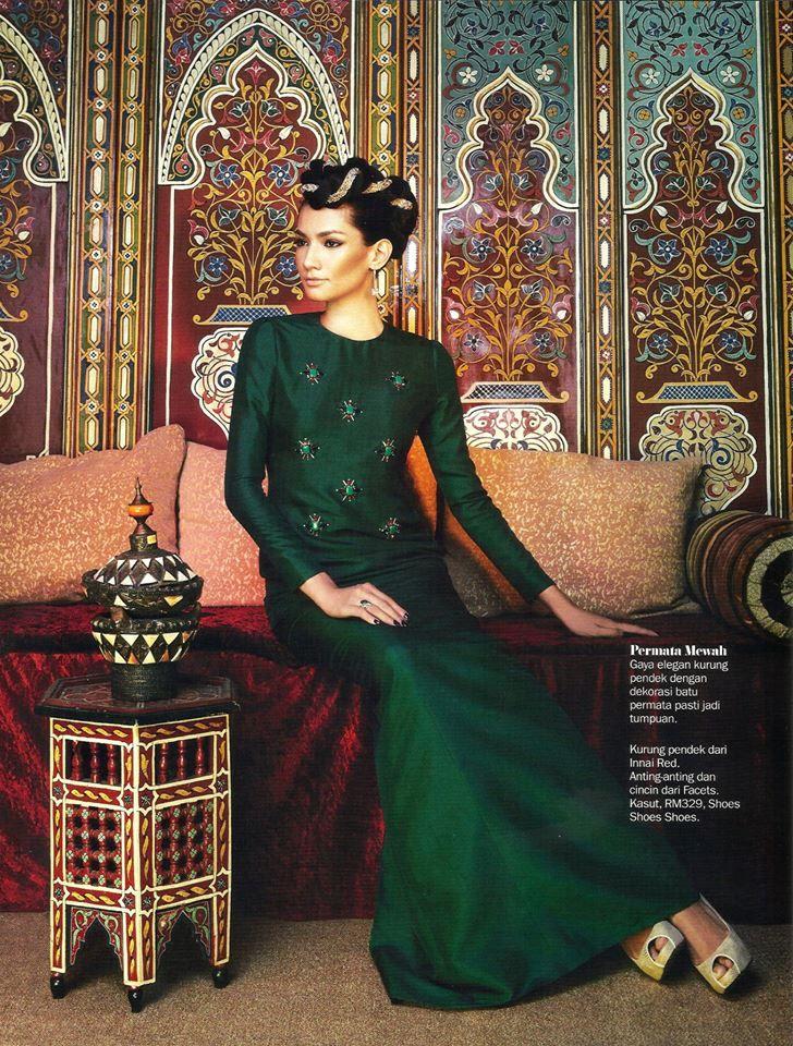 Lightly embellished jade traditional dress Innai Red Malaysia