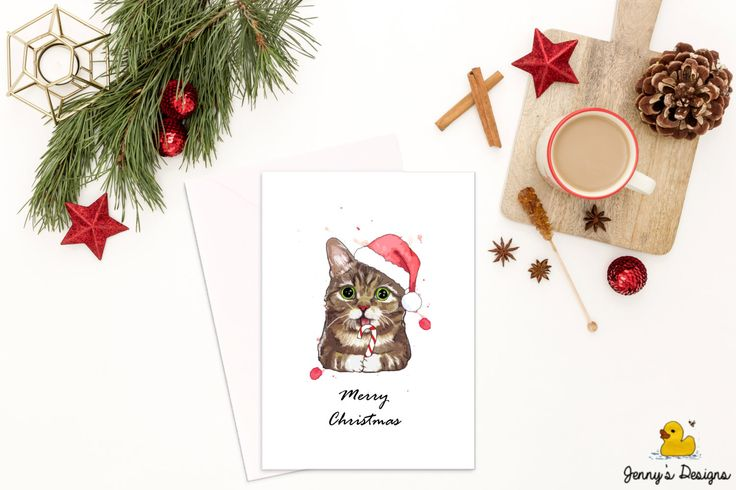 Hand Drawn Cat Christmas Card, Cute Cat Cards, Christmas Cat Card, Christmas Cards for Cat Lovers, Cute Christmas Cards, Christmas Cards by JennysDesigns1 on Etsy https://www.etsy.com/uk/listing/489852339/hand-drawn-cat-christmas-card-cute-cat