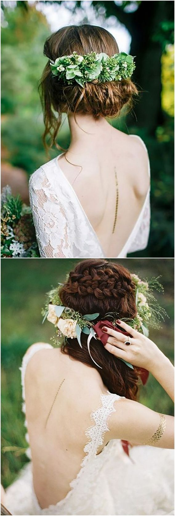 Long wedding hairstyles with greenery #wedding #weddingideas #hairstyles http://www.deerpearlflowers.com/wedding-hairstyles-with-flower-crowns/