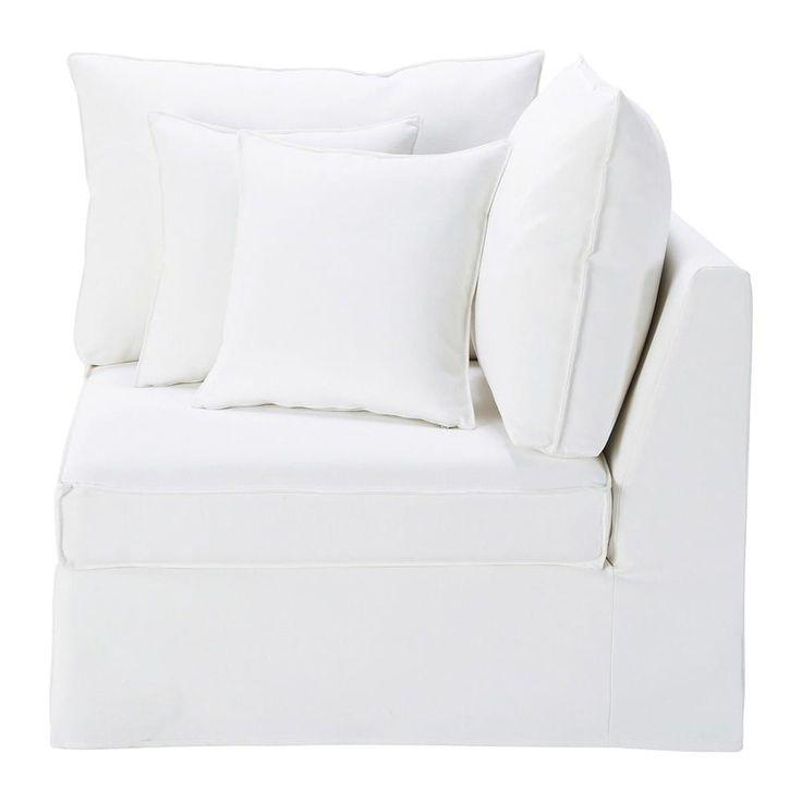 Angle de canapé en coton et lin blanc