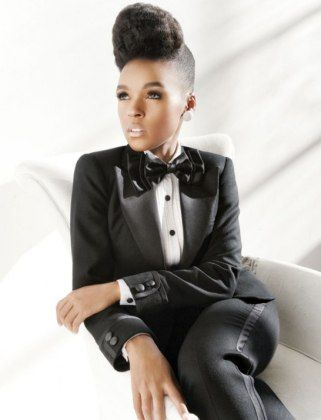 #JanellaMonae in a styled #NaturalHair updo + women's tuxedo + bowtie