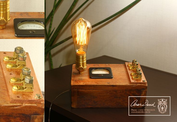 LUMINARIA - Vintage Lamp out from a beautiful ancient woodworker box decorated with E27 bronze socket, voltmeter and a cooper bar.