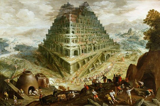 The Building of the Tower of Babel by Marten van Valkenborch (probably painted around 1600)