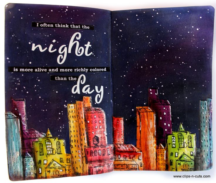 art journal night skyline