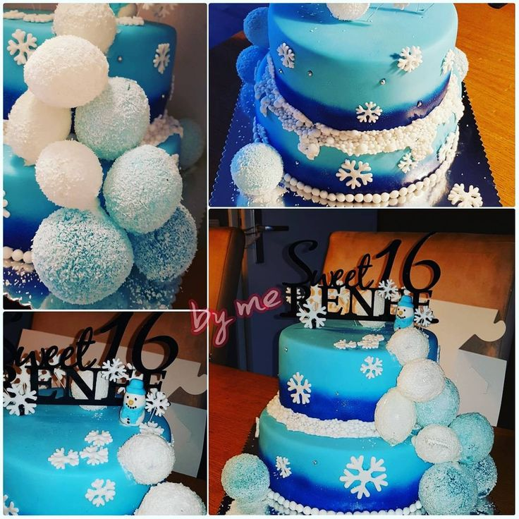 #Winter cake #sweet 16 cake #ballon cake #gelatine ballon taart