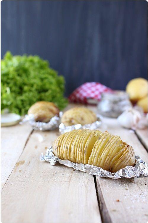 Éventail de pommes de terre à lail et à la fleur de sel