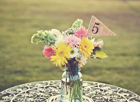 Burlap Table Numbers table number pennants by TheGlitteredBarn