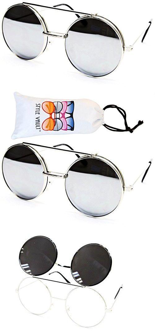 2f8eb901cb V135-vp Style Vault Round Flip up Django Metal Sunglasses (B2360F  Silver-Silver Mirror