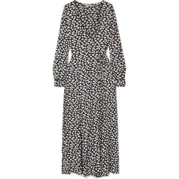 GANNI Roseburg printed crepe de chine wrap dress ($265) ❤ liked on Polyvore featuring dresses, cream dress, tie dress, floral dresses, wrap tie dress and floral print dress