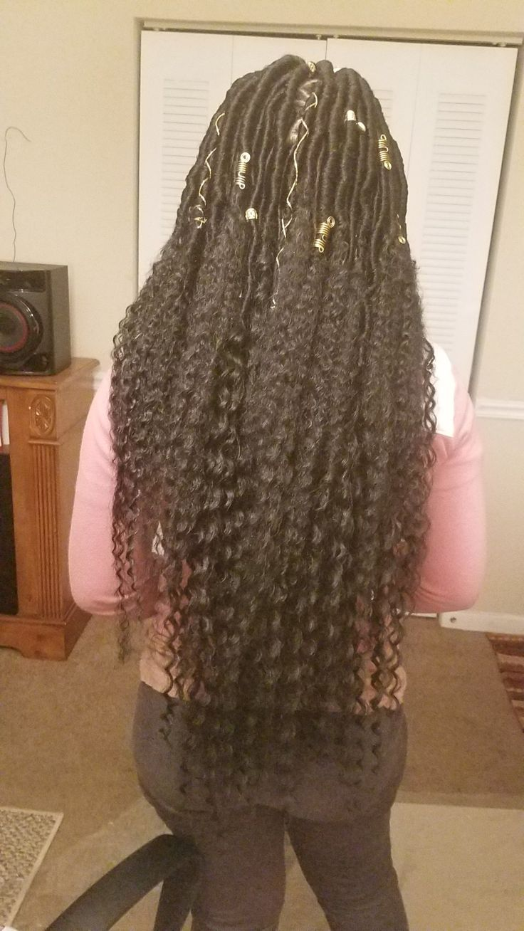 11/4/17 - Finished my niece Oalani's hair #Goddess Locs #oval parts #shine n jam #blue magic (castor oil) #Argan leave-in conditioner #Argan  foam mousse #gold accessories **SHE COULDN'T FIND THE HAIR I NORMALLY USE, SO I HAD TO IMPROVISE WITH DIFFERENT HAIR.** I will NEVER use that Silky Dread hair again!! It tangled so bad!!  #FB - Hairstyles by Nickcola  #IG - faithserenity2  #Youtube - Hairstyles by Nickcola  #Twitter - @HairByNikki915