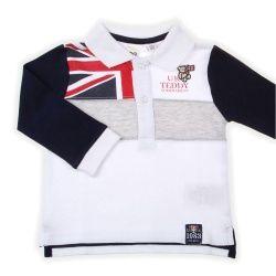 iDO Baby Kleding Jongens Poloshirt Lange Mouw Juno Wit Marine