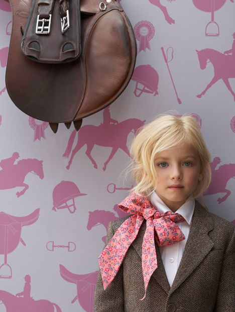 Love this Hibou Home #Wallpaper for an #equestrian themed kid's room.  #horses