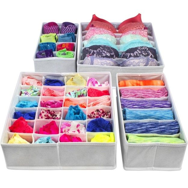 Foldable drawer dividers that won't fold your clothes, but will make them so much easier to section off and put away.