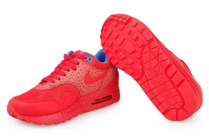 Air Max 87 Verkoop 2014 Nike Dames Sneakers Schoenen Rood Luipaard Print