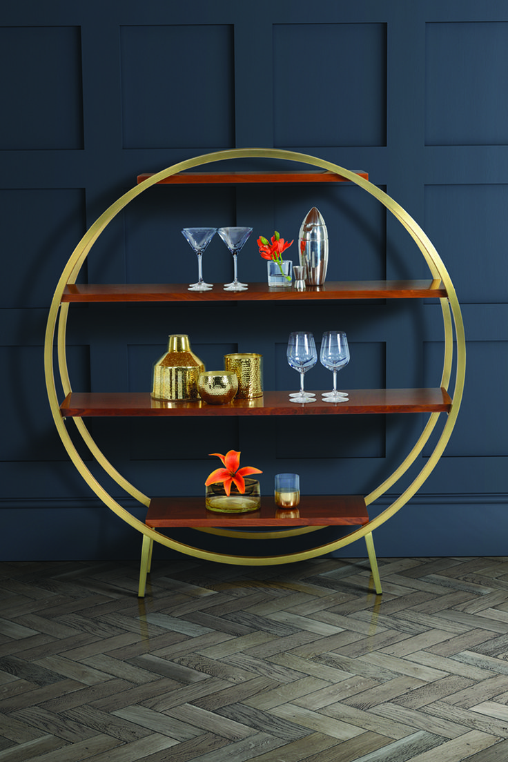 Ravello brass and walnut shelf unit