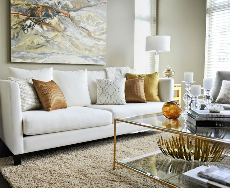 Suzie: Twenty One Two - Contemporary living room with white modern sofa, copper pillows, beige ...