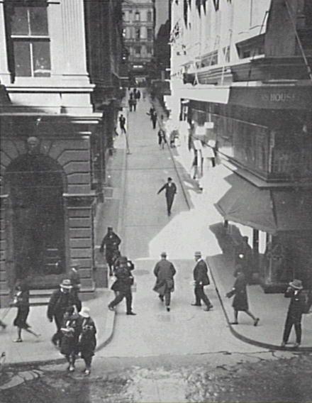Looking E along Rowe Street from Pitt Street towards Castlereagh Street. 1929