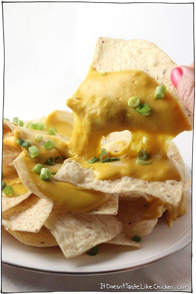 Melty Stretchy Gooey Vegan Nacho Cheese Recipe Vegan Nachos Cheese Vegan Nachos Vegan Cooking