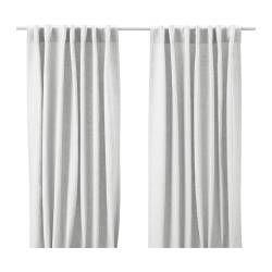 IKEA - AINA, Gardiner, 1 par, , Gardinerna minskar insläpp av dagsljus och skapar avskildhet genom att förhindra att människor utanför ser direkt in i rummet.Linne ger tyget en naturlig, oregelbunden yta som känns fast.Gardinerna kan hängas på en gardinstång eller en gardinskena.Rynkbandet gör att du enkelt kan skapa veck om du kompletterar med gardinkrokarna RIKTIG.Du kan antingen hänga gardinen direkt på en gardinstång genom de gömda hällorna, eller använda ringar och krokar.