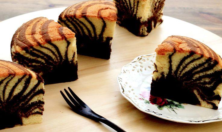 Zebra Cake Recipe   Chocolate Vanilla Marble Cakes   Sponge Cake 카스테라 만들기 カステラ - YouTube