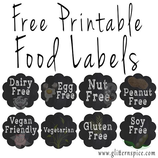 Free Printable Party Food Labels For Identifying Common Food Allergies And Dietary Restrictions #party #labels #entertaining