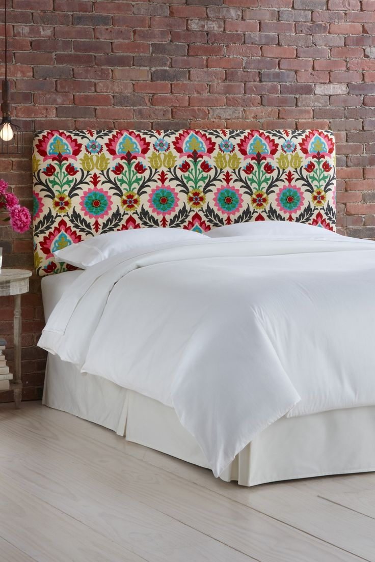Floral print headboard Floral Prints, Brick Wall Bedrooms