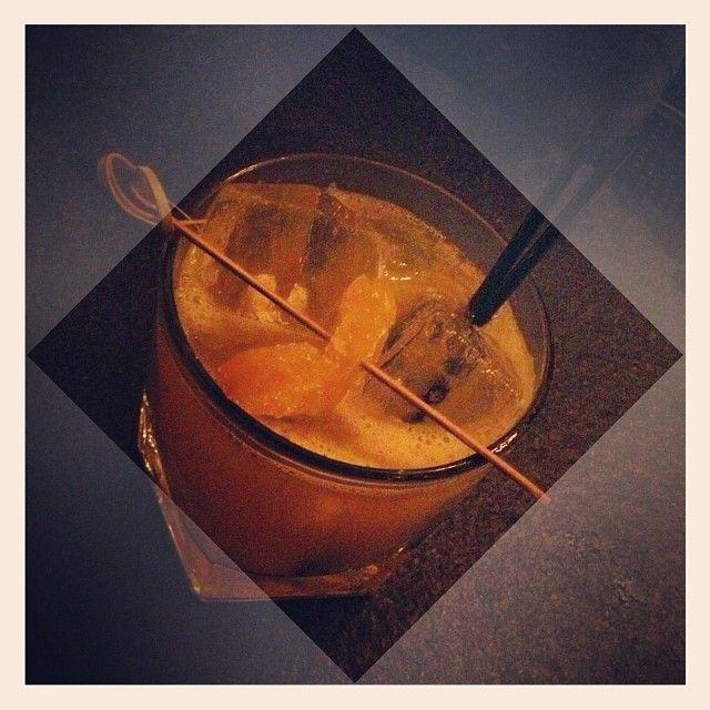 The Penicillin (George Dickel whiskey, ginger, honey, lemon; shaken & served on the rocks with an Ardbeg float) @ Liberty Bar.