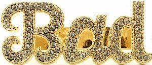 BAD Iced Out Two Finger Ring In Gold Color GWOOD. $24.00