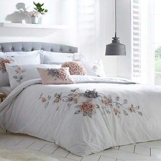 Vintage 3d Flower Embroidered Duvet, White Bedding With Embroidered Flowers