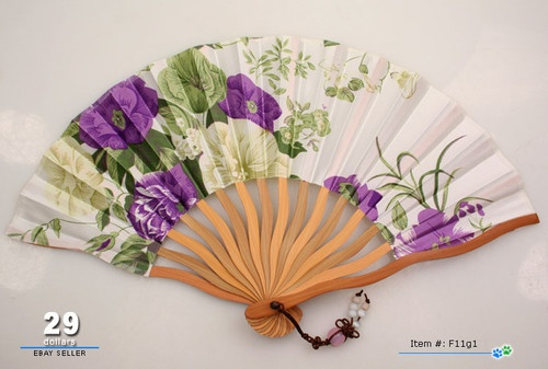 Elegant Ladies Hand Fan Vintage Pattern Folding Fans Purple Roses Easy to Carry