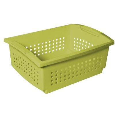 Stackable baskets storage idea for small bathroom for Small bathroom hamper ideas